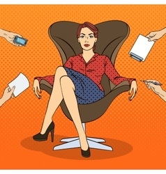 Pop Art Successful Business Woman vector image