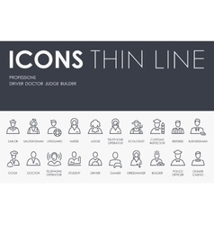 Professions Thin Line Icons vector