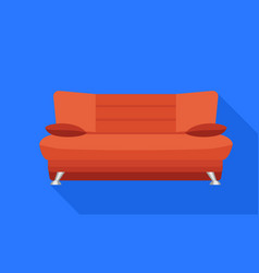 red soft sofa icon flat style vector image