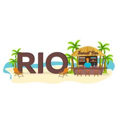 Rio travel palm summer lounge chair tropical vector