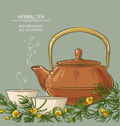 rooibos tea in teapot and tea bowls vector image