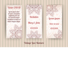 set of 3 vintage lace banner templates vector image