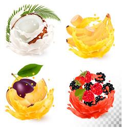 Set of fruit juice splash coconut strawberry vector