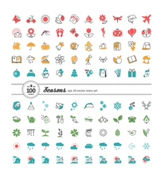 Set of web icons Season weather vector
