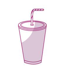 silhouette tasty soda drink beverage vector image
