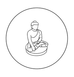 Sitting buddha icon in outline style isolated on vector