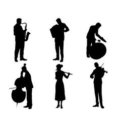 Six musicians silhouettes vector