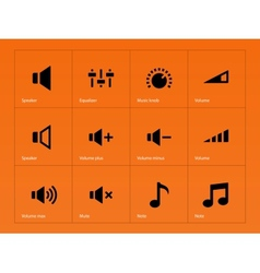 Speaker icons on orange background vector