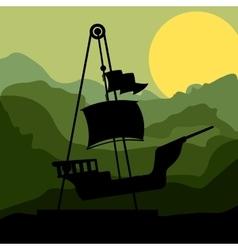 Sunset background amusement park pirate ship line vector