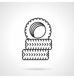 Tires black line icon vector image