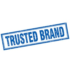 Trusted brand blue square grunge stamp on white vector