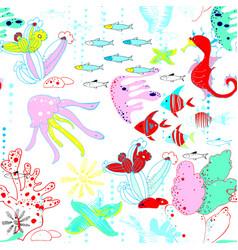 Underwater world with fish jellyfish sea horses vector