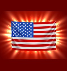 united states america flag with light beams vector image