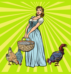 village woman on a farm with chicken and eggs vector image