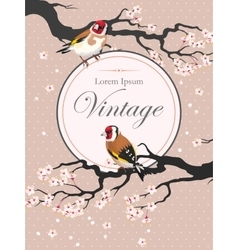 Vintage card with blooming cherry vector