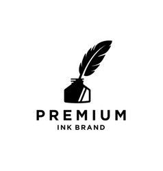 Vintage feather quill pen logo with black ink pot vector