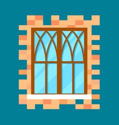 vintage window in flat design vector image