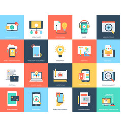 web and mobile development icons set vector image