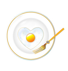 white plate realistic gold tablewares fried egg vector image