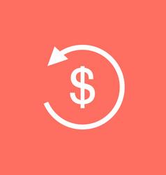 white refund money icon in flat design vector image