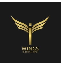 Wings I letter logo vector