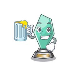 With juice acrylic trophy mascot on a cartoon vector