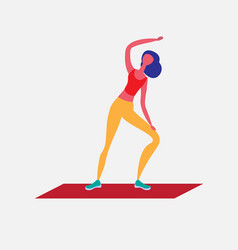 woman doing aerobic exercises cartoon character vector image