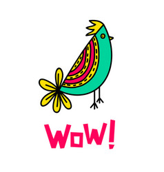 wow lettering and bird doodle vector image