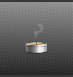 yellow wax tealight candle in round silver metal vector image