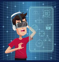 Young man virtual reality wearing goggle vector