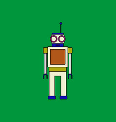 flat icon design collection robot toy with antenna vector image vector image
