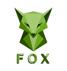 green fox head polygon vector image