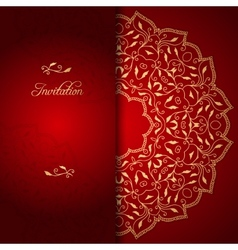 Red lace background with floral ornament vector image vector image