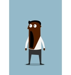 Shocked cartoon businessman with open mouth vector image