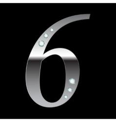 silver metallic number six vector image