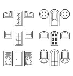 Window and door icons set vector image vector image