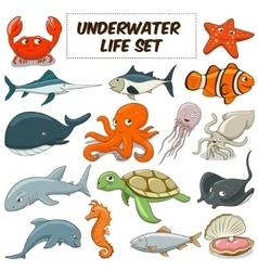 Cartoon underwater animals set vector image