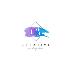 cb artistic watercolor letter brush logo vector image vector image