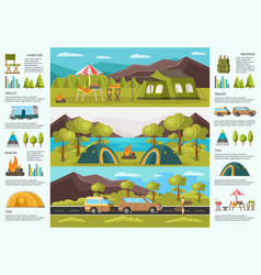 colorful traveling camping infographic template vector image