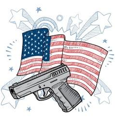 doodle americana gun vector image