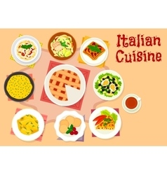 Italian cuisine lunch with dessert pie icon vector image vector image