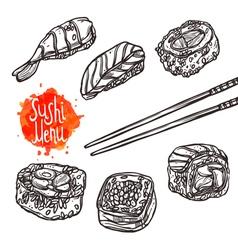 Sushi Sketch Set Sushi Menu vector image