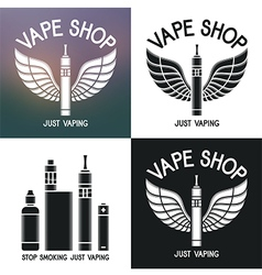 Vape shop logo Icons e-cigarette and accessories vector image vector image