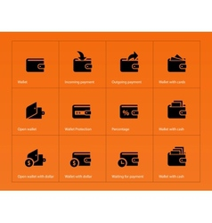 Wallet and translation icons on orange background vector image vector image