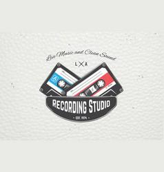 color sticker studio recording and music shop vector image