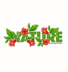 green tature horizontal banner with images of vector image