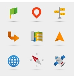 Map location and navigation icons in flat paper vector image vector image