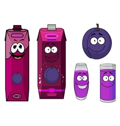 Plum fruit and juice drinks with happy face vector image vector image