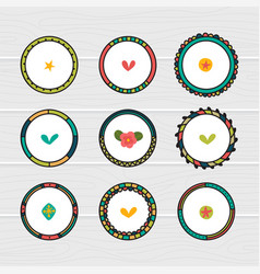 romantic collection with hand drawn round frames vector image vector image