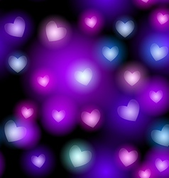 Abstract seamless pattern with neon hearts on vector image